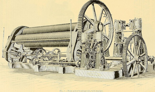 An old machine that bended steel plates to water boilers.