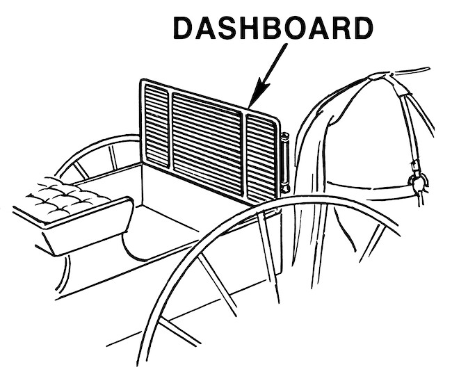 A dashboard of a horse carriage.